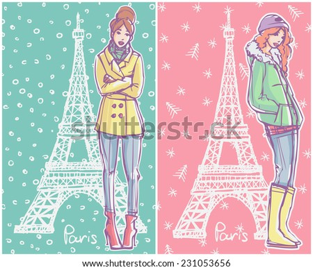 Vector colored hand drawn sketch style fashion illustrations, gift cards, greetings cards. Girls in winter season clothes standing and posing with Eiffel Tower on background - stock vector