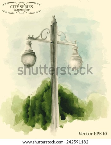 Vector colored illustration with street elements, watercolor card with hand drawn street lamp, vintage street light on a lamppost, vintage urban object - stock vector