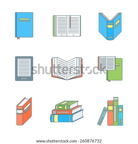 vector colored outline books icons set  - stock vector