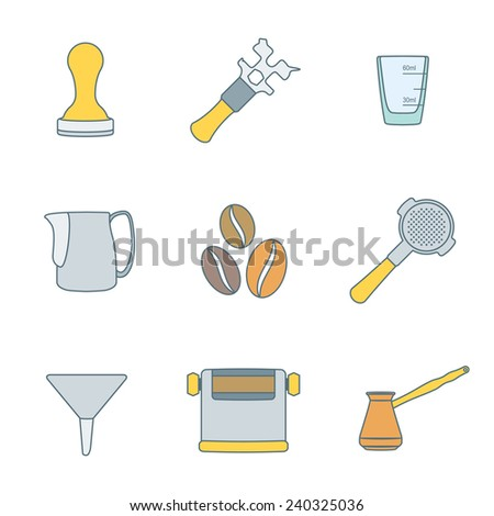 vector colored outline coffee barista equipment icons set tools espresso tamper, coffee wrench, measuring glass, pitcher, coffee beans, filter holder, funnel, knockbox, turk coffee pot  - stock vector