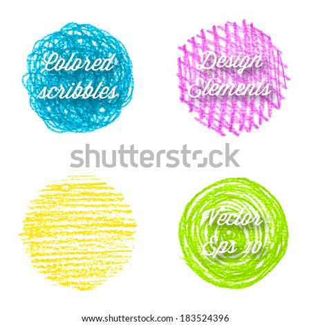 Vector colored pencil design elements. Hand drawn colorful round shapes.