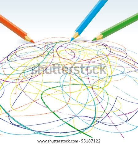 Vector colored pencils drawing lines - stock vector