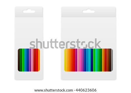 Vector colored pencils in the box - stock vector