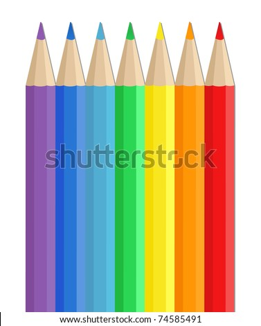 Vector Colored Pencils on white background - stock vector