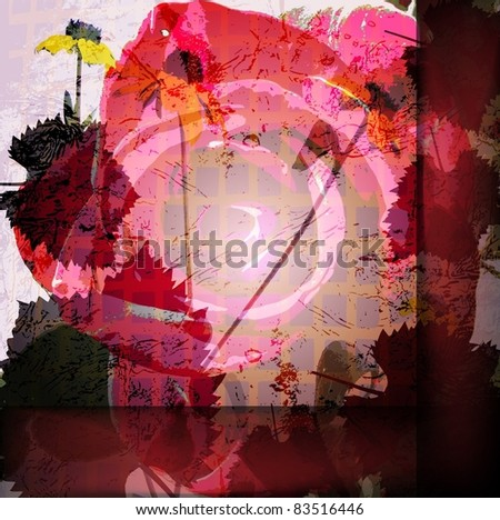 Vector colored wallpaper with beautiful abstract red flowers