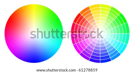 Vector colored wheels in HSV (HSB) color space. Created using gradient meshes and simple radial sectors - stock vector