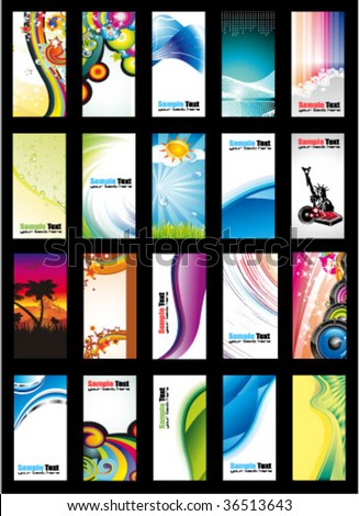 VECTOR Colorful Abstract, Business, Music and Fantasy Background Card Collection - Set 2