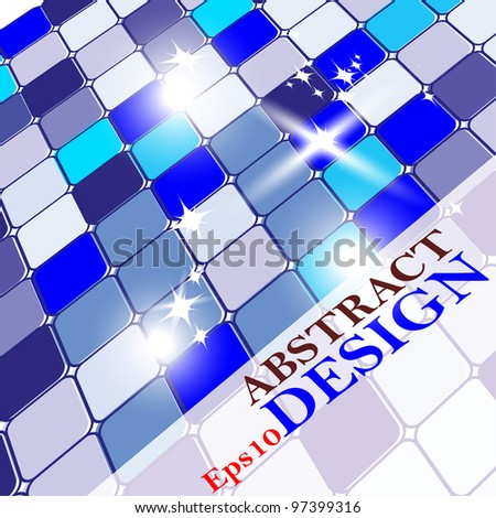 Vector colorful abstract cubes background with blue shine shades. - stock vector