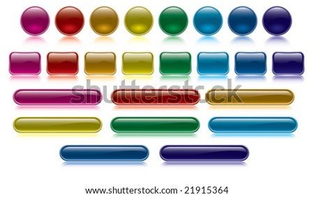 vector colorful and glossy buttons collection vol one - stock vector