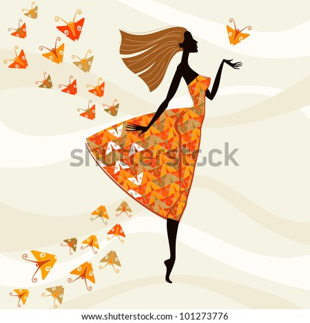 Vector colorful background. Beautiful woman in a bright dress with a pattern of stylized butterflies. Abstract illustration  with concept of fashion and beauty - stock vector