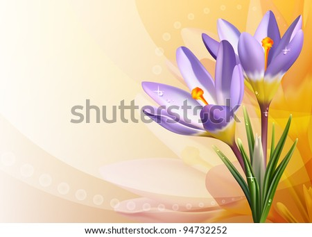 Vector colorful background with crocuses - stock vector