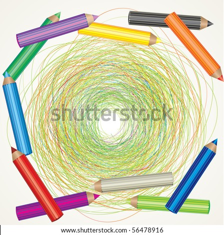 Vector colorful background with drawing and color pencils - stock vector