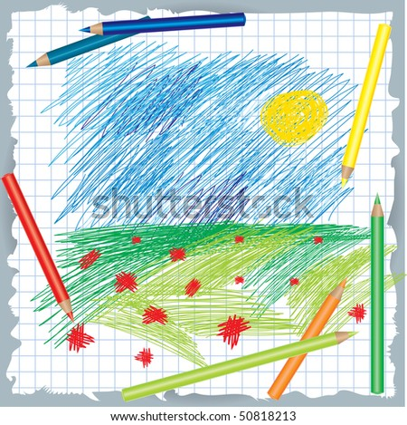 Vector colorful background with drawing and color pencils - nature - stock vector