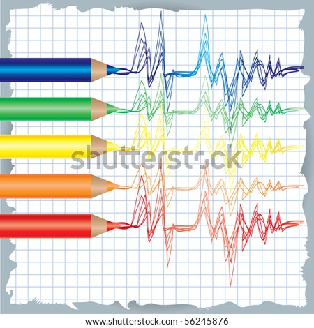 Vector colorful background with drawing of cardiogram and color pencils - stock vector