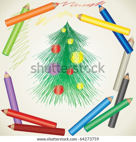 Vector colorful background with drawing of Christmas tree and color pencils - stock vector