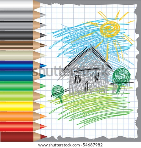 Vector colorful background with drawing of house and color pencils - stock vector