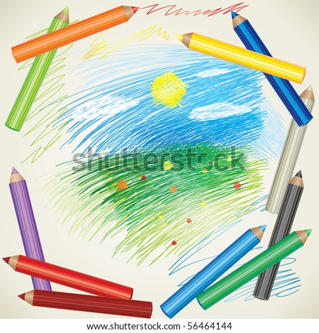 Vector colorful background with drawing of summer landscape and color pencils - stock vector