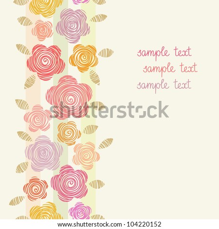 Vector colorful background with flowers of doodles made using stencil. Floral seamless pattern in hand draw style. Abstract simple ornamental illustration. Greeting card for holiday with text box. - stock vector