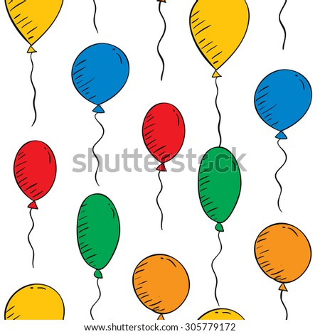 Vector colorful balloons on a white background. Seamless wallpaper - stock vector