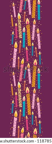 Vector colorful birthday candles vertical seamless pattern ornament - stock vector