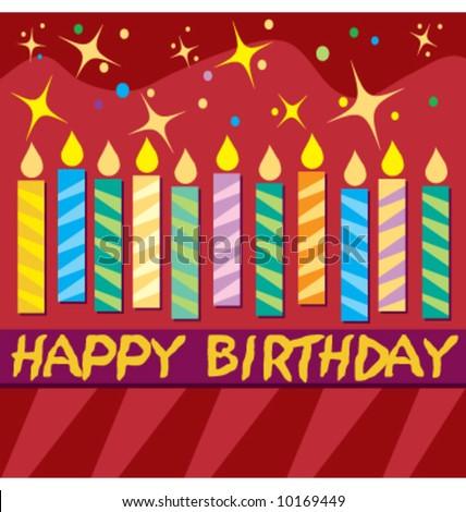 Vector colorful birthday card - stock vector