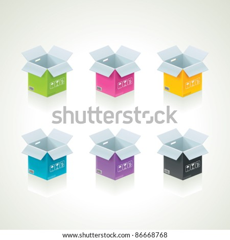Vector colorful boxes - stock vector
