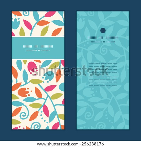 Vector colorful branches vertical frame pattern invitation greeting cards set - stock vector