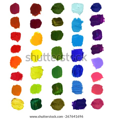 Vector Colorful brush stain smears colors of the rainbow , oil, acrylic, beautiful texture isolated on white