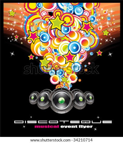 VECTOR Colorful Bubbles Music Event Flyer - stock vector