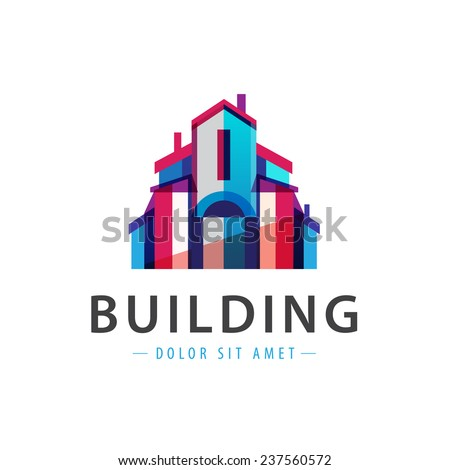 vector colorful building, house icon, logo isolated - stock vector