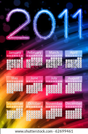 Vector - Colorful 2011 Calendar on Black Background. Rainbow Colors - stock vector