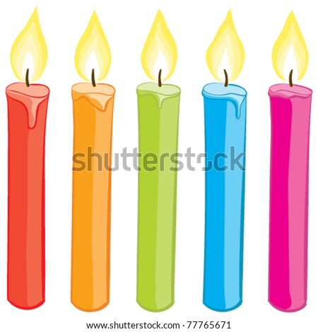 Vector colorful candles set. Gradient free illustration.