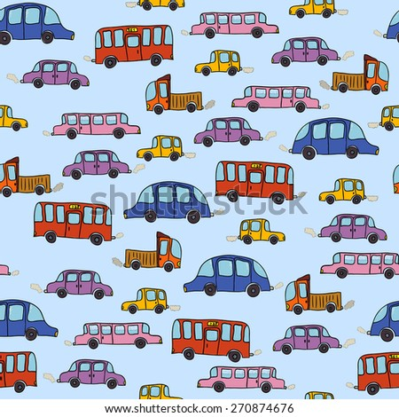 Vector colorful cartoon cars seamless pattern background with hand drawn elements - stock vector