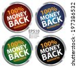 Vector : Colorful Circle Metallic Style 100 Percent Money Back Guarantee Sticker, Label or Icon Isolated on White Background  - stock photo