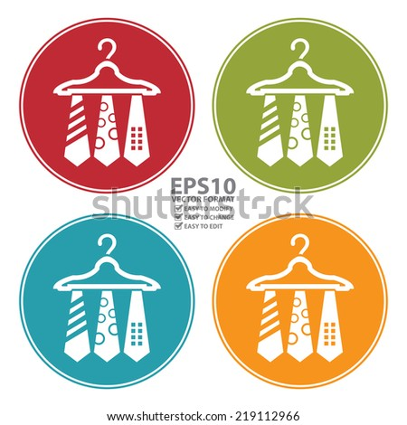 Vector : Colorful Circle Necktie Hanger Icon, Sign or Symbol Isolated on White Background  - stock vector