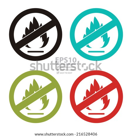 Vector : Colorful Circle No Flammable or Non Burnable Prohibited Sign, Icon or Label Isolate on White Background  - stock vector