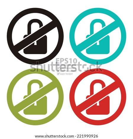 Vector : Colorful Circle No Locked Prohibited Sign, Icon or Label Isolate on White Background  - stock vector