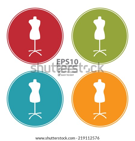 Vector : Colorful Circle Tailor Dummy Icon, Sign or Symbol Isolated on White Background  - stock vector