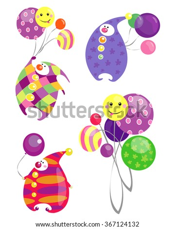 Vector colorful circus clowns with balloons isolated on a white background. - stock vector