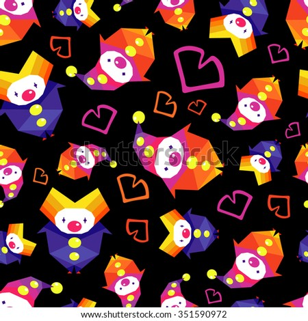 Vector colorful circus pattern with clowns and hearts on black background. Seamless pattern can be used for wallpaper, pattern fills, web page background,surface textures. - stock vector