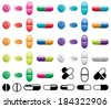 vector colorful collection of pills, capsules and black and white symbols on white background - stock photo