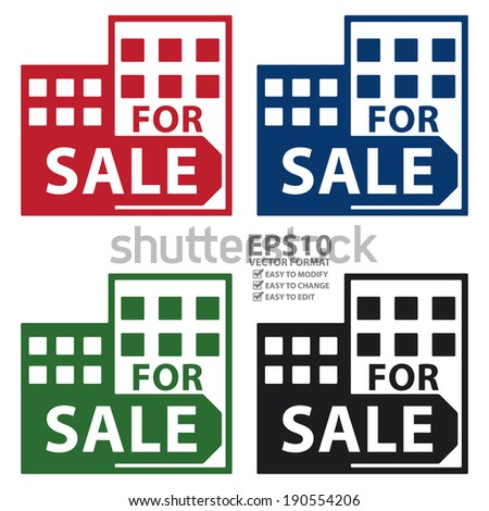 Vector : Colorful Condominium, Apartment, Building or Office For Sale Isolated on White Background  - stock vector