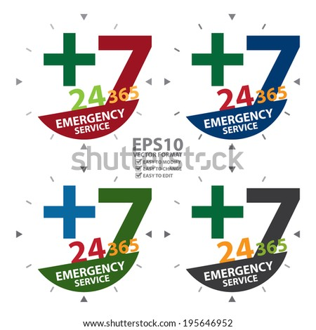 Vector : Colorful Cross Sign With 24 Hours A Day, 7 Days A Week, 365 Days A Year Emergency Service Label, Sign or Icon Isolated on White Background  - stock vector