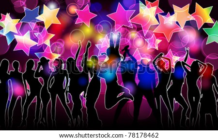 Vector colorful crowd of party people silhouettes background with glittering stars and lights - stock vector