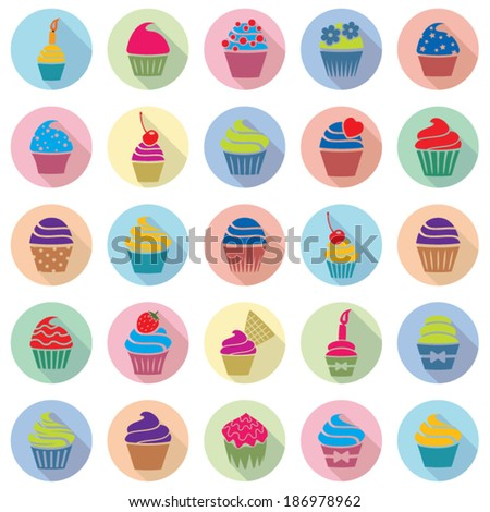 vector colorful cupcakes icons with flat shadow - stock vector