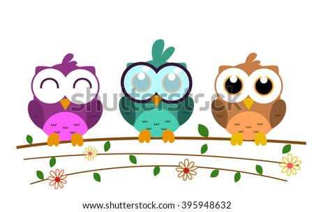vector colorful cute cartoon owl with big eyes and branch, flower, and leaf art