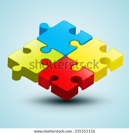 Vector Colorful 3D Puzzle