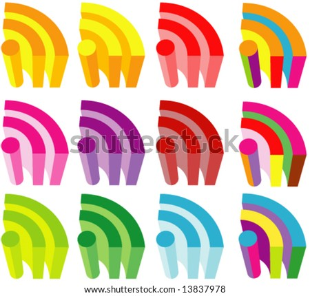 Vector Colorful 3D RSS Icons Set (Colors are easy to edit) - stock vector