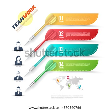 Vector colorful dart arrow like options banner with people icons, infographics. Vector illustration. Can use for business teamwork concept. Business motivation concept.