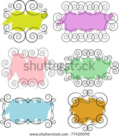 vector colorful doodle frames - stock vector